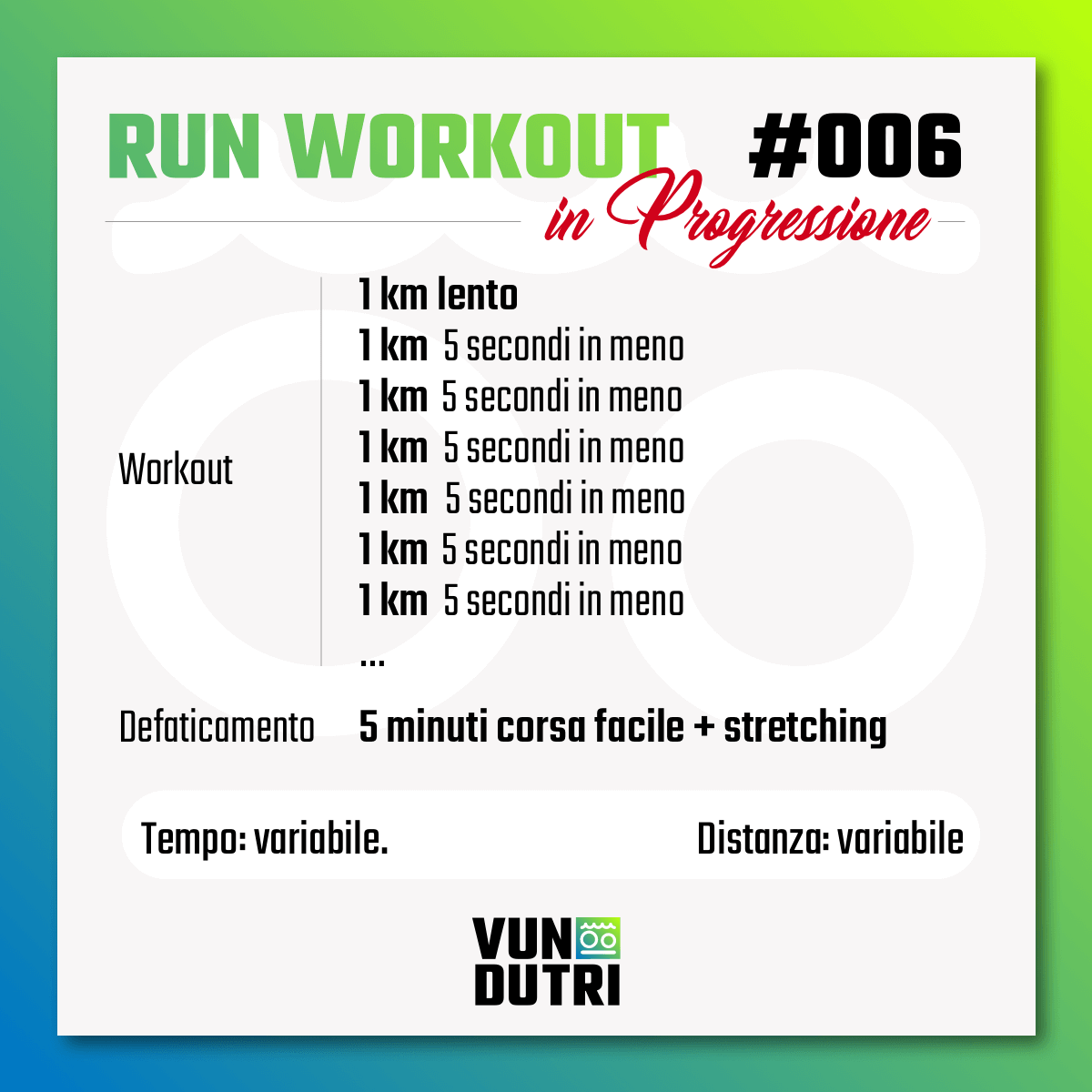 Run Workout 006 - in progressione