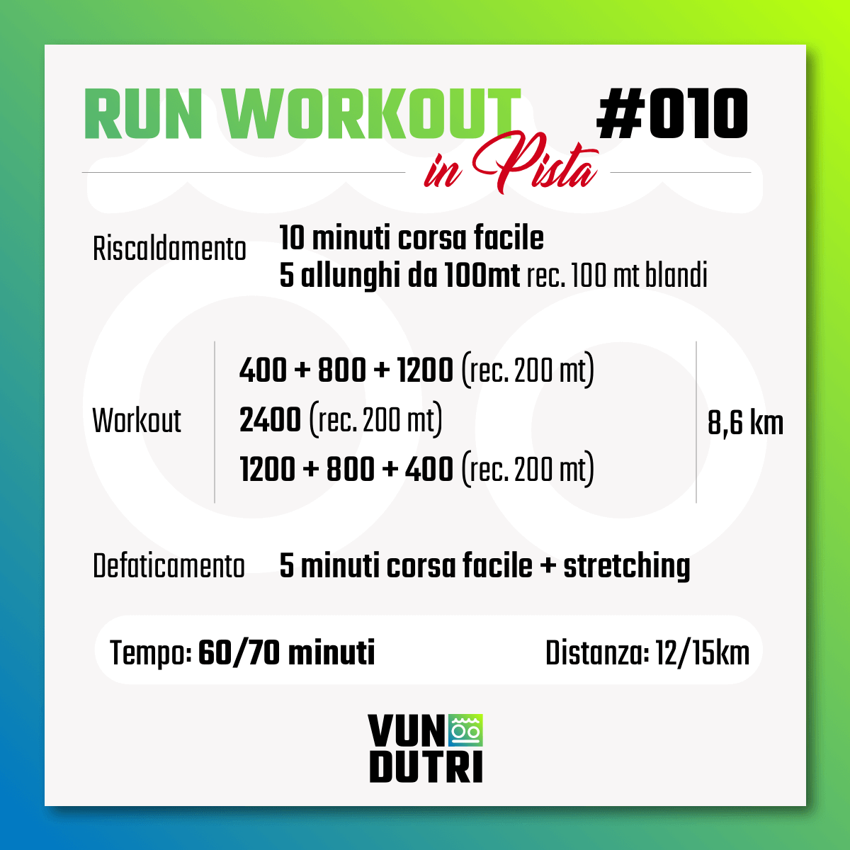 Run Workout 010 - in pista