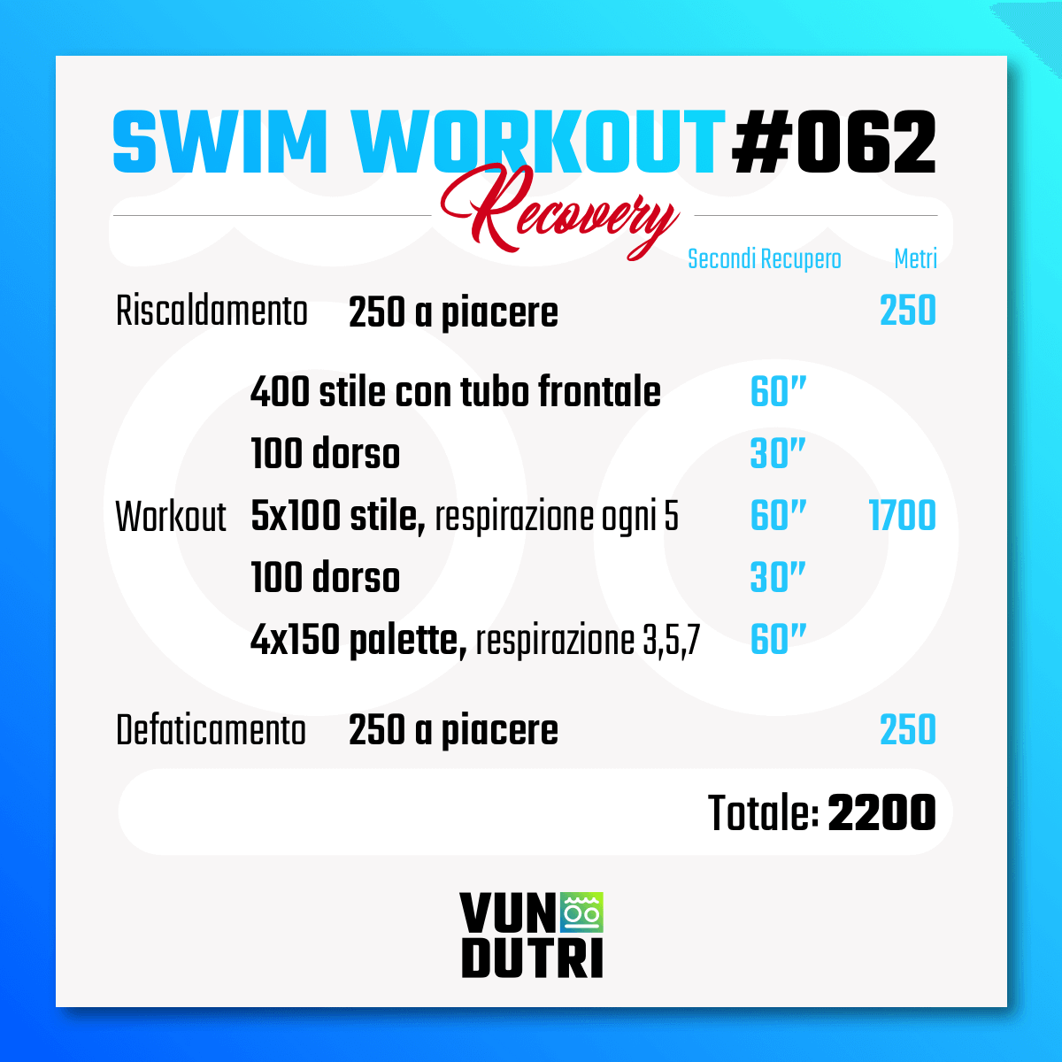 Swim workout 062 - Recovery