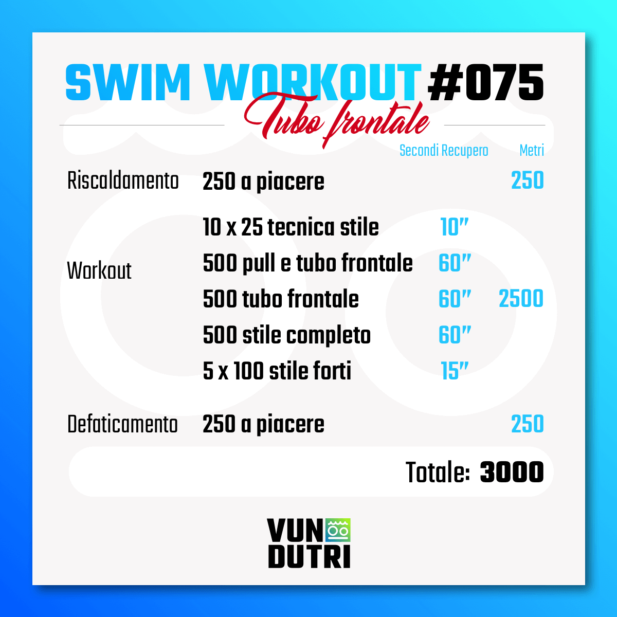 Swim workout 075 - Tubo frontale